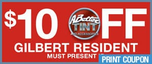 $10 off window tint promotion to Gilbert resident