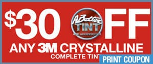 $30 off any 3M™ Automotive Window Film Crystalline Series promotion by A Better Tint
