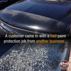 Bad paint protection job car bra gone wrong ratified by A Better Tint in Gilbert and Scottsdale Az