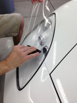 Installation of paint protection film ppf on headlights