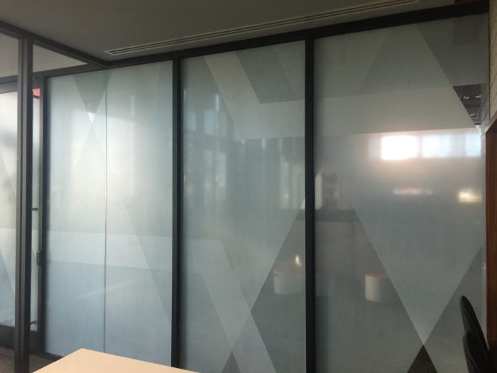 Decorative window film installation in Gilbert and Scottsdale at State Farm corporate office