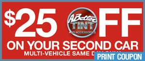 $25 off on your second car window tinting in Scottsdale and Gilbert