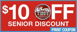 Get $10 senior discounts on window tint at Scottsdale window tinting company, A Better Tint